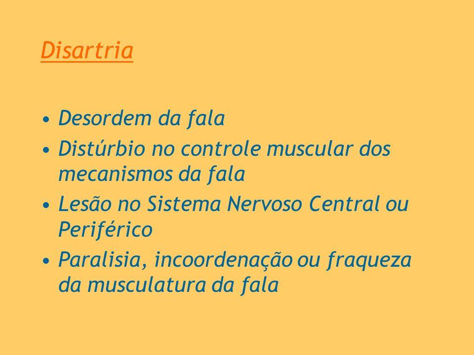 Disartria Desordem da fala Distúrbio no controle muscular dos mecanismos da fala Lesão no Sistema Nervoso Central ou Periférico Paralisia, incoordenaç
