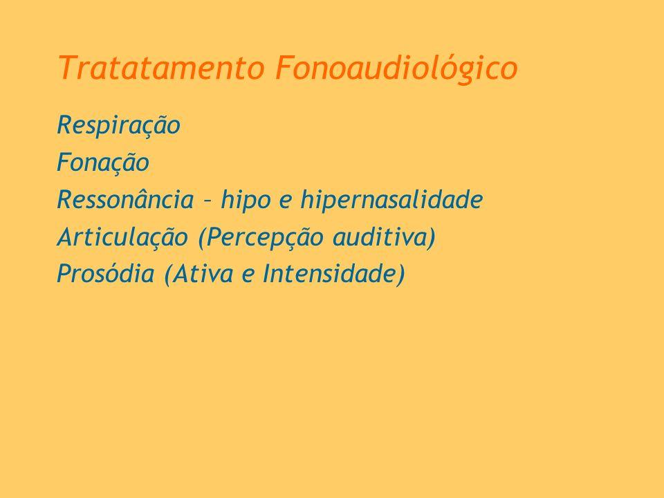 Tratatamento Fonoaudiológico Respiração Fonação Ressonância – hipo e hipernasalidade Articulação (Percepção auditiva) Prosódia (Ativa e Intensidade)