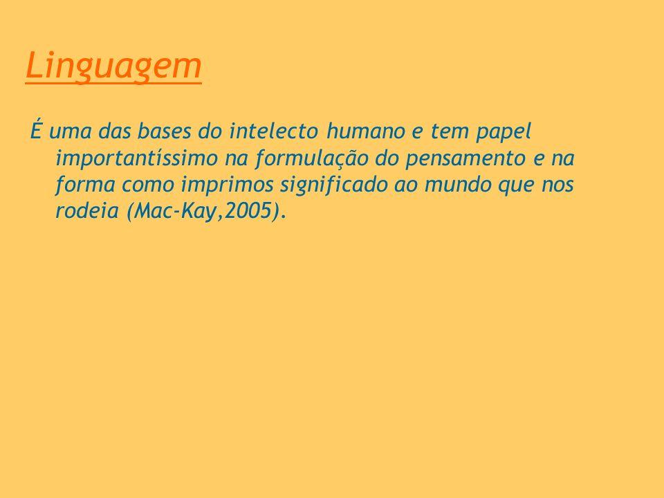 Linguagem É uma das bases do intelecto humano e tem papel importantíssimo na formulação do pensamento e na forma como imprimos significado ao mundo qu