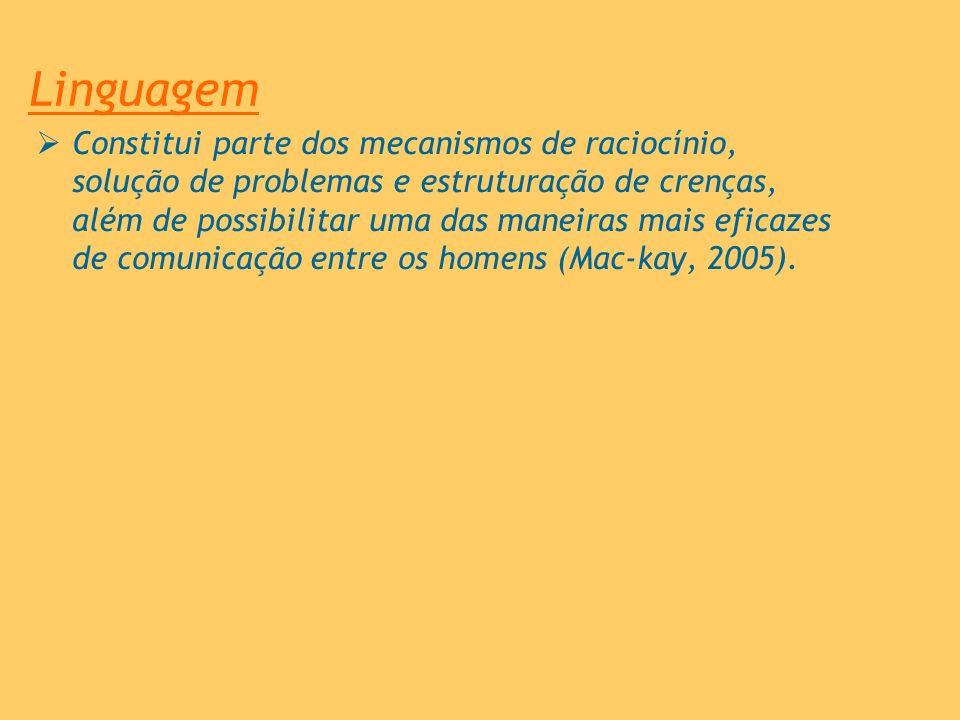 Linguagem Constitui parte dos mecanismos de raciocínio, solução de problemas e estruturação de crenças, além de possibilitar uma das maneiras mais efi