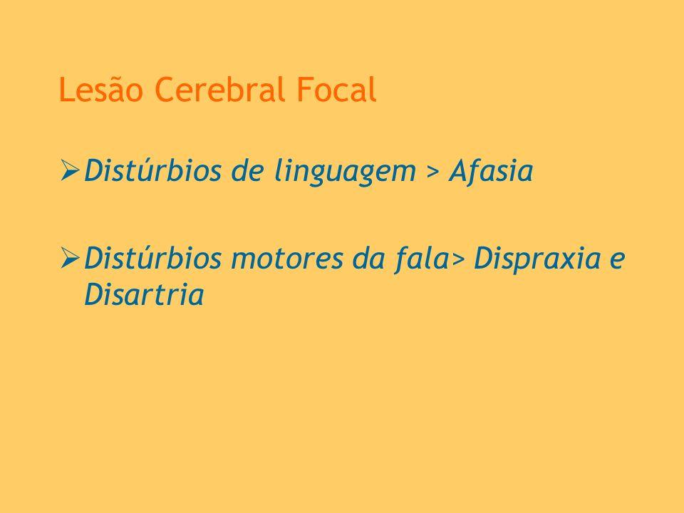 Lesão Cerebral Focal Distúrbios de linguagem > Afasia Distúrbios motores da fala> Dispraxia e Disartria