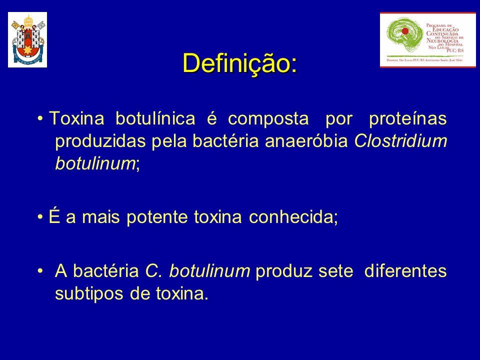 Subtipos: Sorotipos existentes: A, B, C, D, E, F e G Botulismo: A, B, E e F Uso clínico: A e B Uso clínico experimental: C, E e F Todas as neurotoxinas inibem a liberação de acetilcolina na fenda sináptica, porém agem em proteínas intracelulares distintas, exibindo efeitos com duração e potencias diferentes.