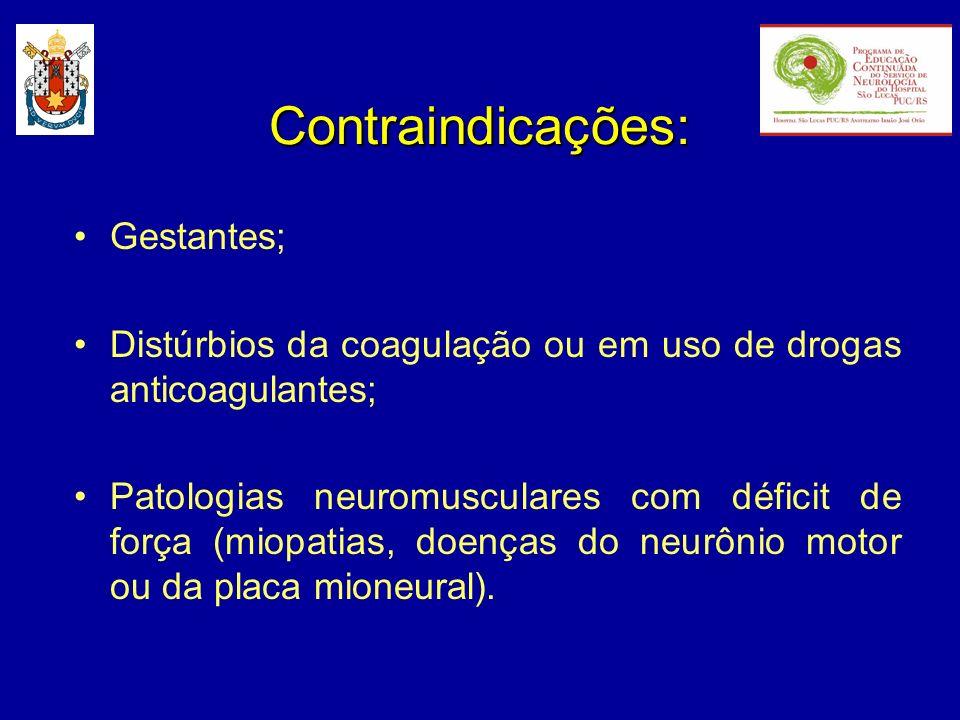 Contraindicações: Gestantes; Distúrbios da coagulação ou em uso de drogas anticoagulantes; Patologias neuromusculares com déficit de força (miopatias,