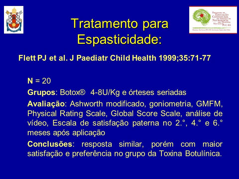 Tratamento para Espasticidade: Flett PJ et al. J Paediatr Child Health 1999;35:71-77 N = 20 Grupos: Botox® 4-8U/Kg e órteses seriadas Avaliação: Ashwo