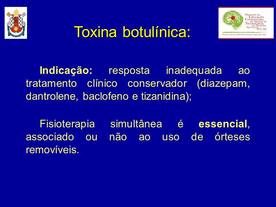 Toxina botulínica: Indicação: resposta inadequada ao tratamento clínico conservador (diazepam, dantrolene, baclofeno e tizanidina); Fisioterapia simul
