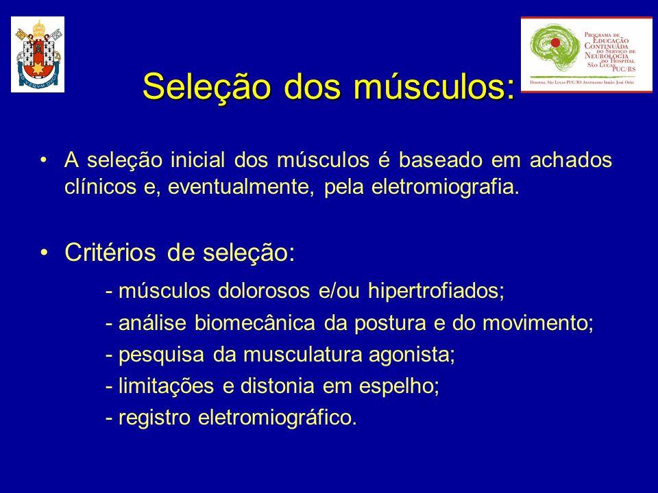 Seleção dos músculos: A seleção inicial dos músculos é baseado em achados clínicos e, eventualmente, pela eletromiografia. Critérios de seleção: - mús