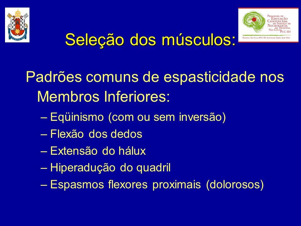 Padrões comuns de espasticidade nos Membros Inferiores: –Eqüinismo (com ou sem inversão) –Flexão dos dedos –Extensão do hálux –Hiperadução do quadril