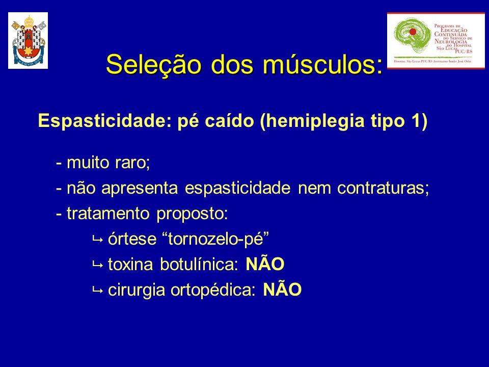 Espasticidade: pé caído (hemiplegia tipo 1) - muito raro; - não apresenta espasticidade nem contraturas; - tratamento proposto: órtese tornozelo-pé to