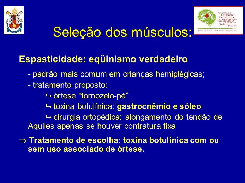 Espasticidade: eqüinismo verdadeiro - padrão mais comum em crianças hemiplégicas; - tratamento proposto: órtese tornozelo-pé toxina botulínica: gastro