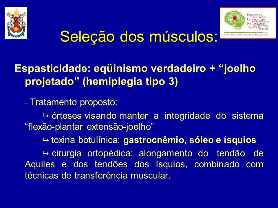 Espasticidade: eqüinismo verdadeiro + joelho projetado (hemiplegia tipo 3) - Tratamento proposto: órteses visando manter a integridade do sistema flex