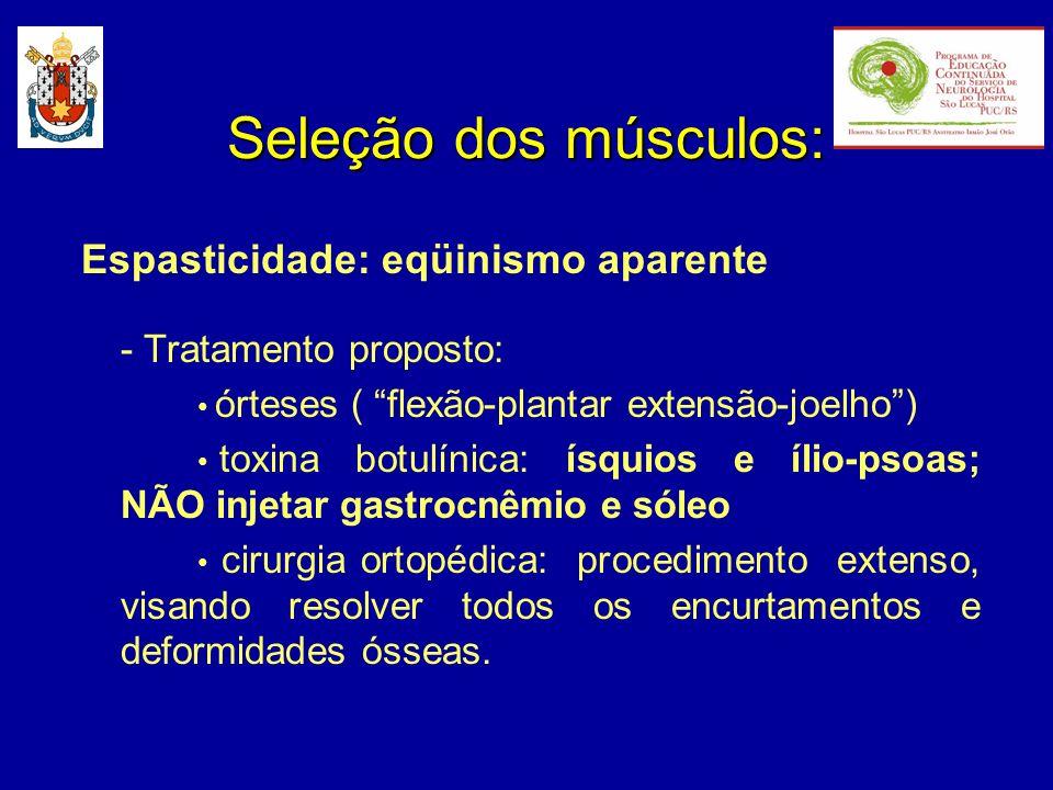 Espasticidade: eqüinismo aparente - Tratamento proposto: órteses ( flexão-plantar extensão-joelho) toxina botulínica: ísquios e ílio-psoas; NÃO injeta