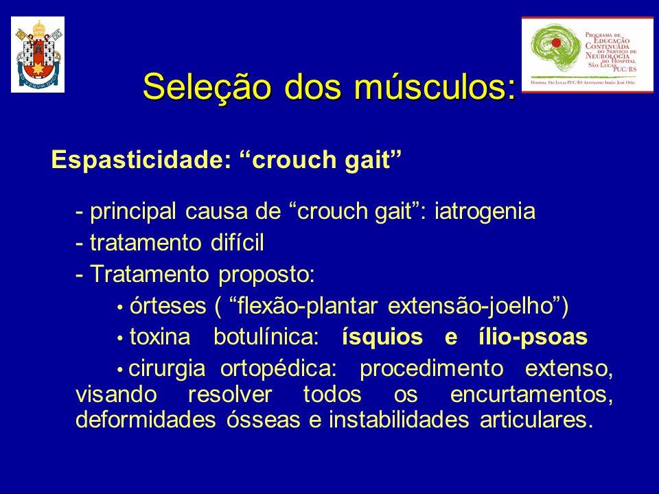 Espasticidade: crouch gait - principal causa de crouch gait: iatrogenia - tratamento difícil - Tratamento proposto: órteses ( flexão-plantar extensão-