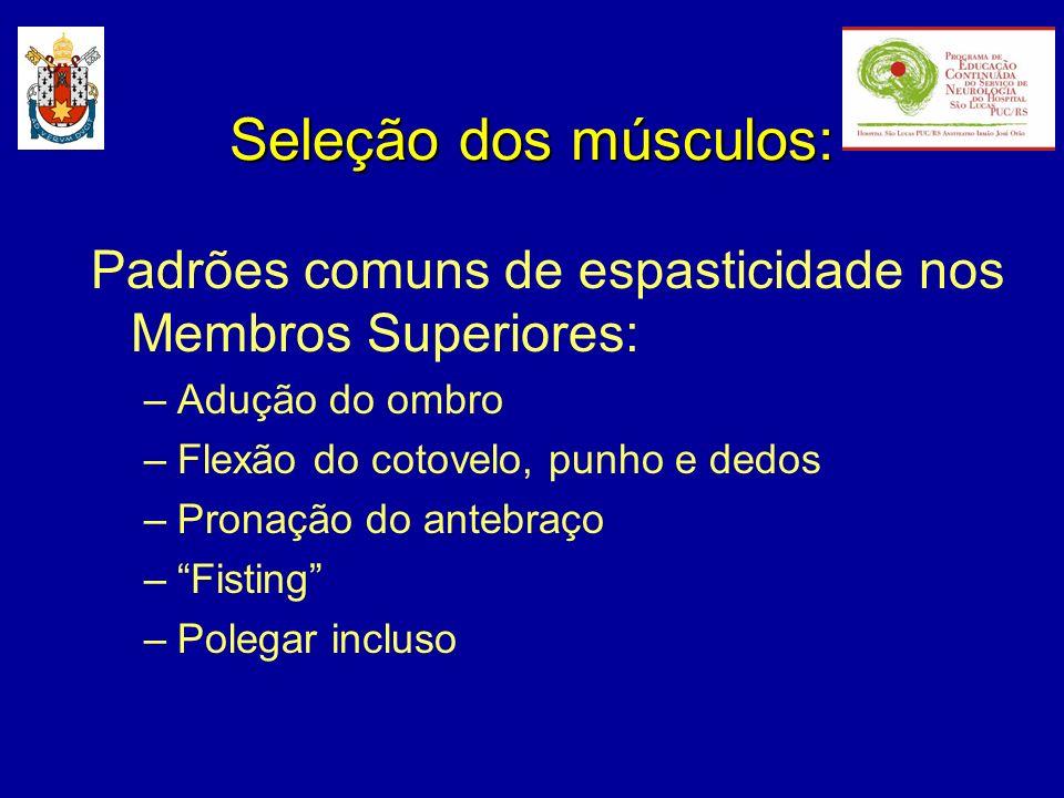 Padrões comuns de espasticidade nos Membros Superiores: –Adução do ombro –Flexão do cotovelo, punho e dedos –Pronação do antebraço –Fisting –Polegar i