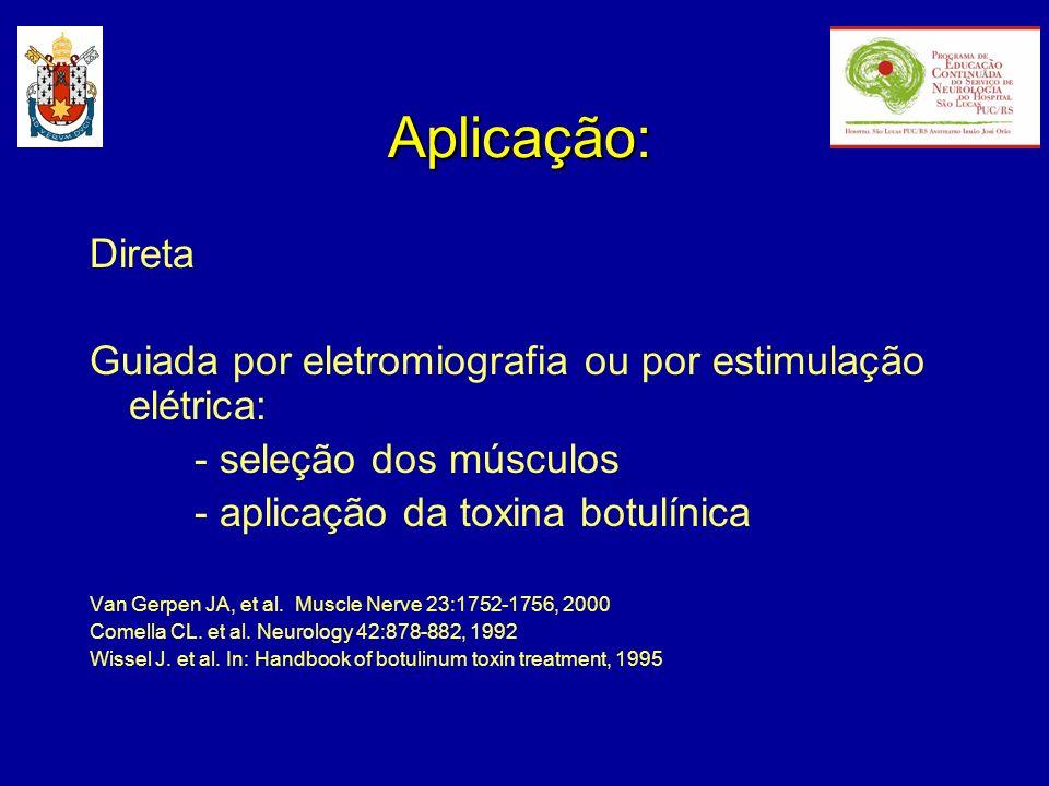 Aplicação: Direta Guiada por eletromiografia ou por estimulação elétrica: - seleção dos músculos - aplicação da toxina botulínica Van Gerpen JA, et al