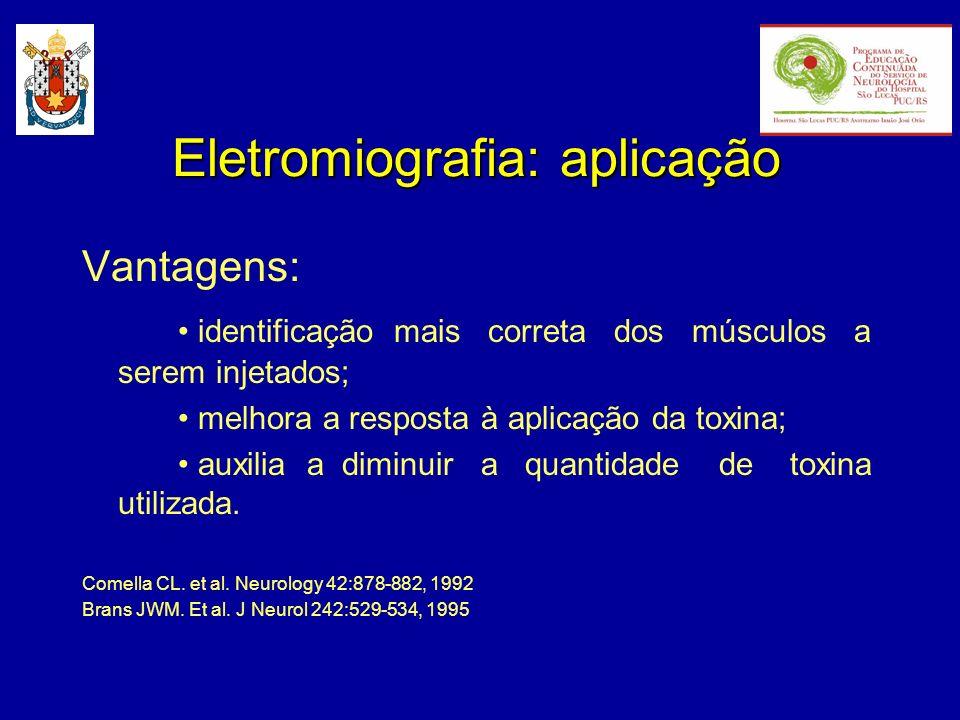 Eletromiografia: aplicação Vantagens: identificação mais correta dos músculos a serem injetados; melhora a resposta à aplicação da toxina; auxilia a d