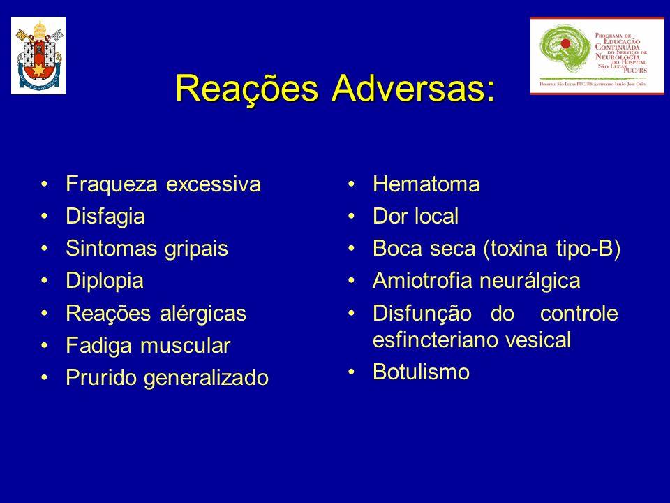 Reações Adversas: Fraqueza excessiva Disfagia Sintomas gripais Diplopia Reações alérgicas Fadiga muscular Prurido generalizado Hematoma Dor local Boca