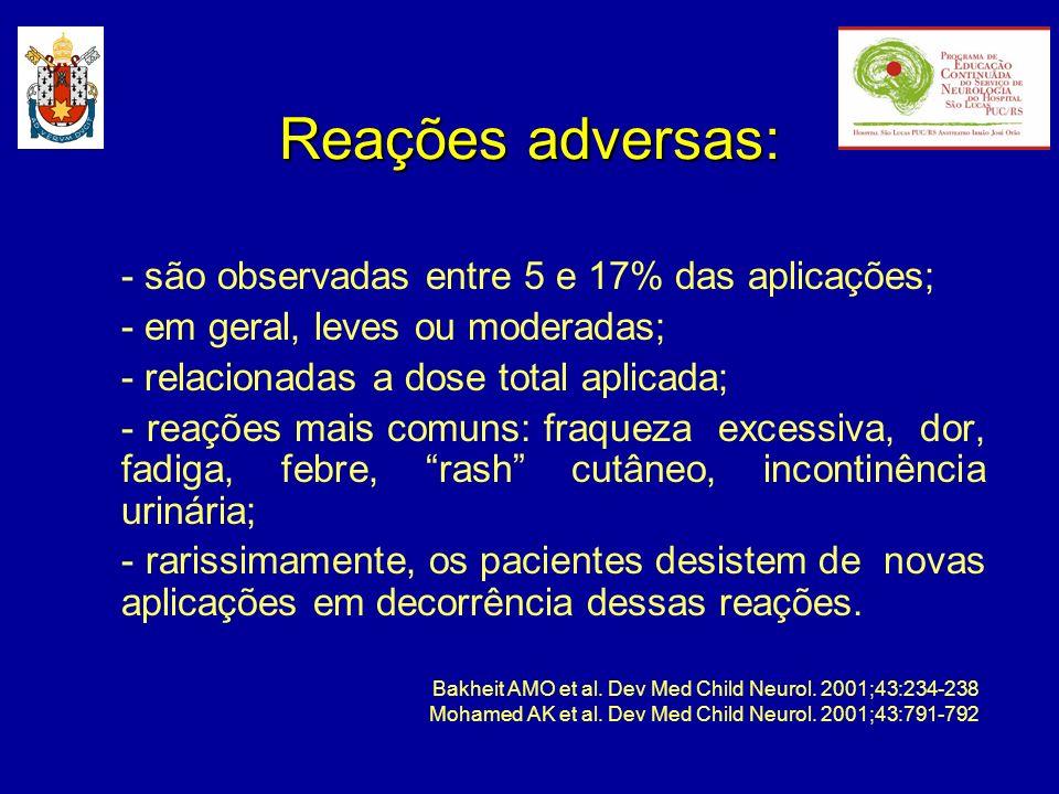 Reações adversas: - são observadas entre 5 e 17% das aplicações; - em geral, leves ou moderadas; - relacionadas a dose total aplicada; - reações mais