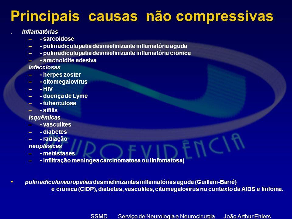 SSMD Serviço de Neurologia e Neurocirurgia João Arthur Ehlers Principais causas não compressivas. inflamatórias –- sarcoidose –- polirradiculopatia de