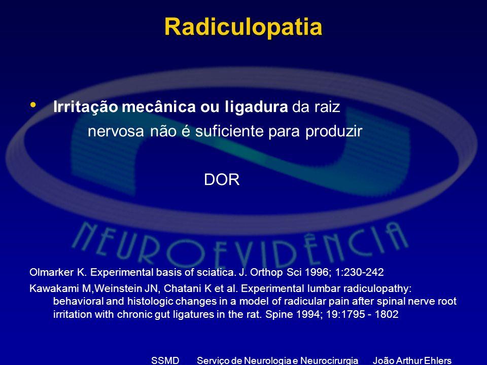 SSMD Serviço de Neurologia e Neurocirurgia João Arthur Ehlers Radiculopatia Irritação mecânica ou ligadura da raiz nervosa não é suficiente para produ
