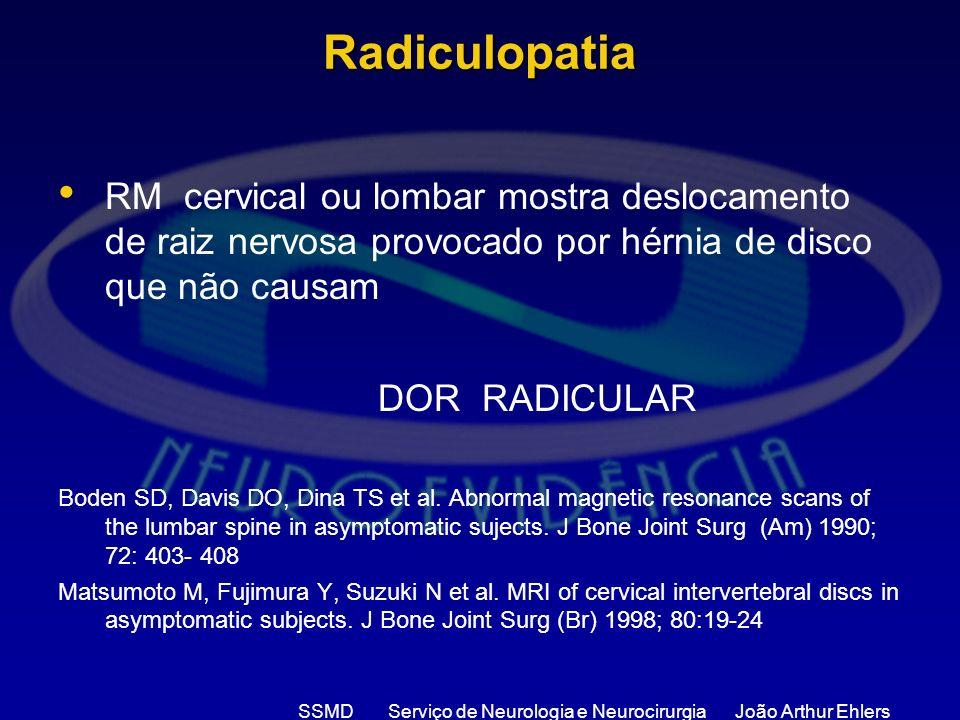 SSMD Serviço de Neurologia e Neurocirurgia João Arthur Ehlers Radiculopatia RM cervical ou lombar mostra deslocamento de raiz nervosa provocado por hé