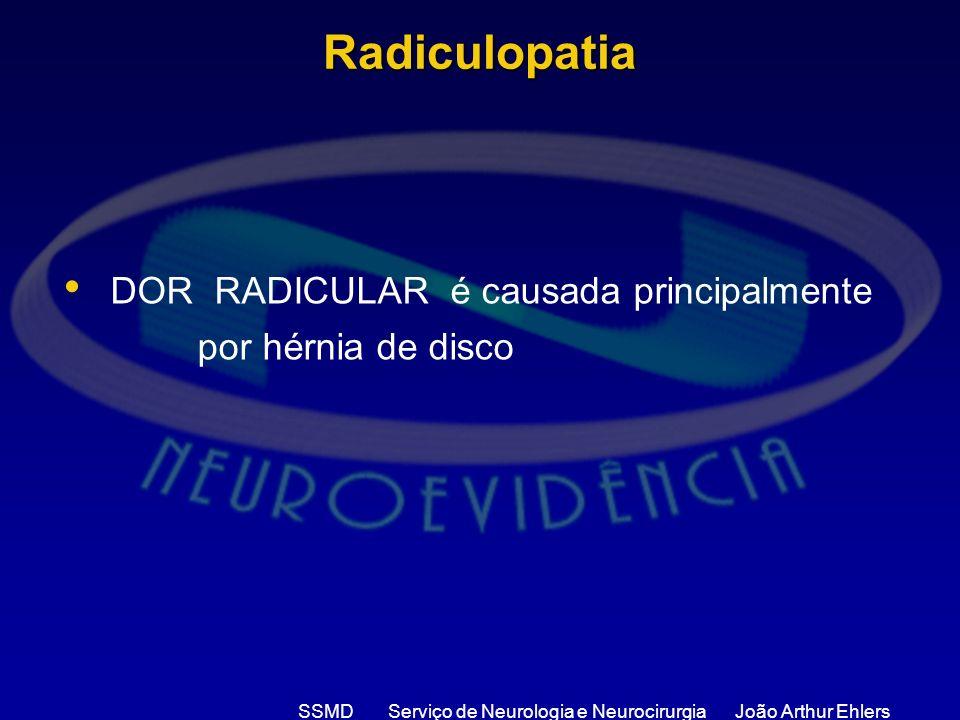 SSMD Serviço de Neurologia e Neurocirurgia João Arthur Ehlers Radiculopatia DOR RADICULAR é causada principalmente por hérnia de disco
