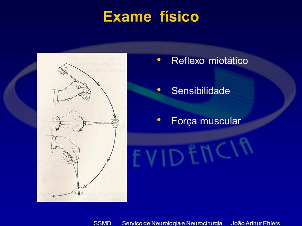 SSMD Serviço de Neurologia e Neurocirurgia João Arthur Ehlers Exame físico Reflexo miotático Sensibilidade Força muscular