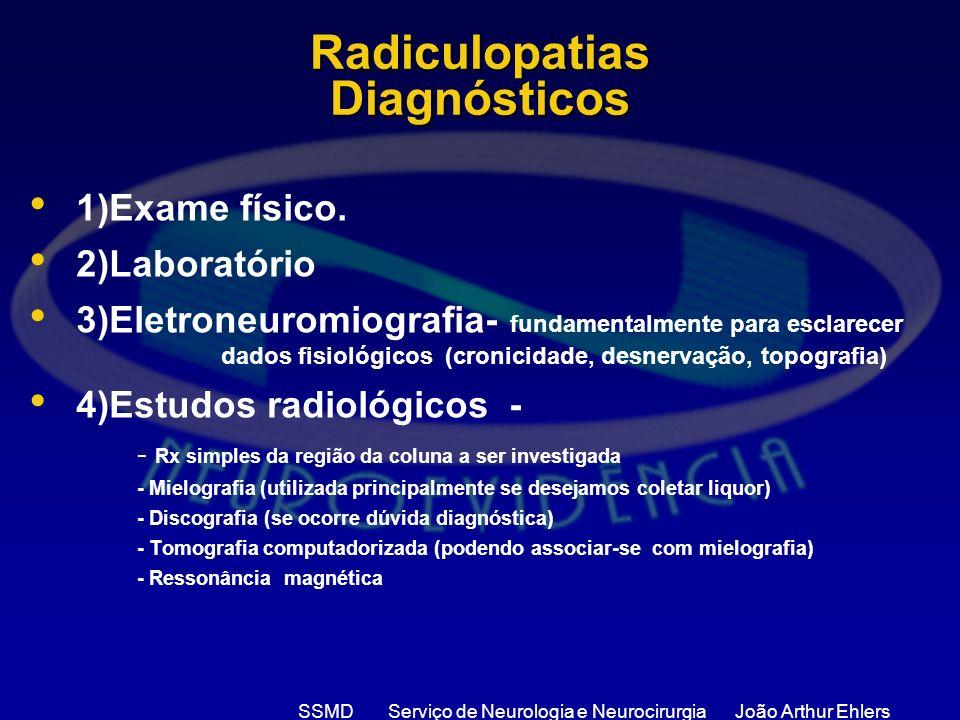 Radiculopatias Diagnósticos 1)Exame físico. 2)Laboratório 3)Eletroneuromiografia- fundamentalmente para esclarecer dados fisiológicos (cronicidade, de