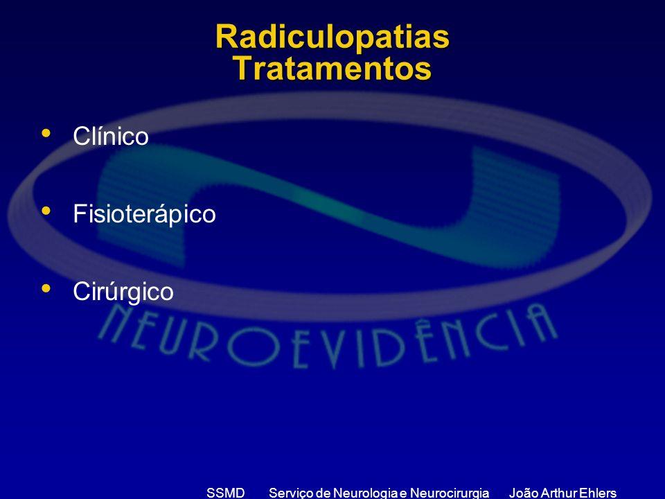SSMD Serviço de Neurologia e Neurocirurgia João Arthur Ehlers Radiculopatias Tratamentos Clínico Fisioterápico Cirúrgico