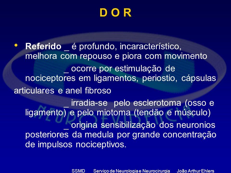SSMD Serviço de Neurologia e Neurocirurgia João Arthur Ehlers D O R Referido _ é profundo, incaracterístico, melhora com repouso e piora com movimento