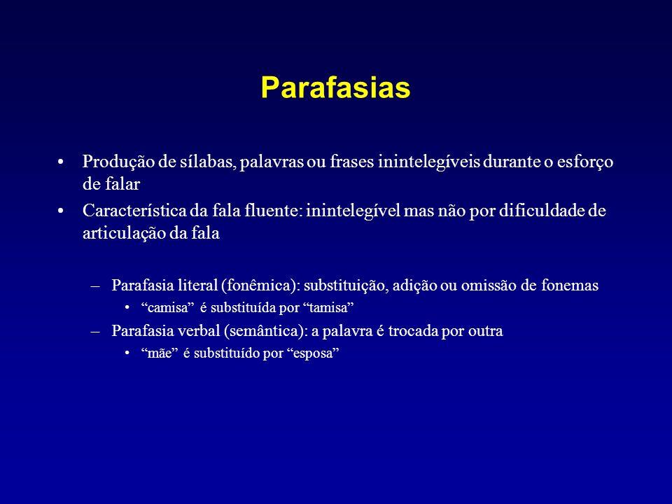 Parafasias Produção de sílabas, palavras ou frases inintelegíveis durante o esforço de falar Característica da fala fluente: inintelegível mas não por