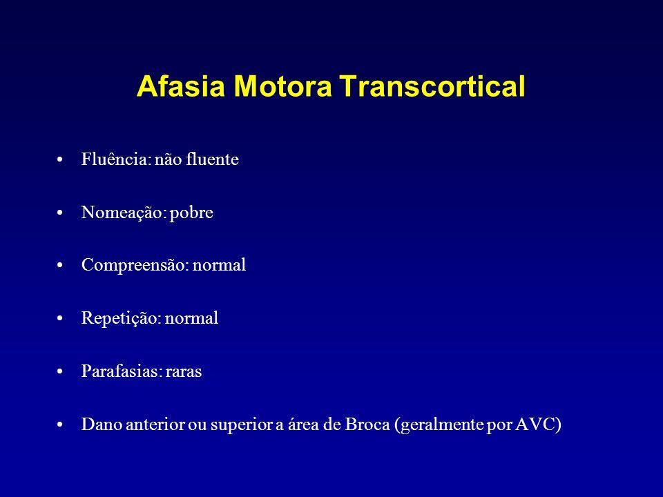 Afasia Motora Transcortical Fluência: não fluente Nomeação: pobre Compreensão: normal Repetição: normal Parafasias: raras Dano anterior ou superior a