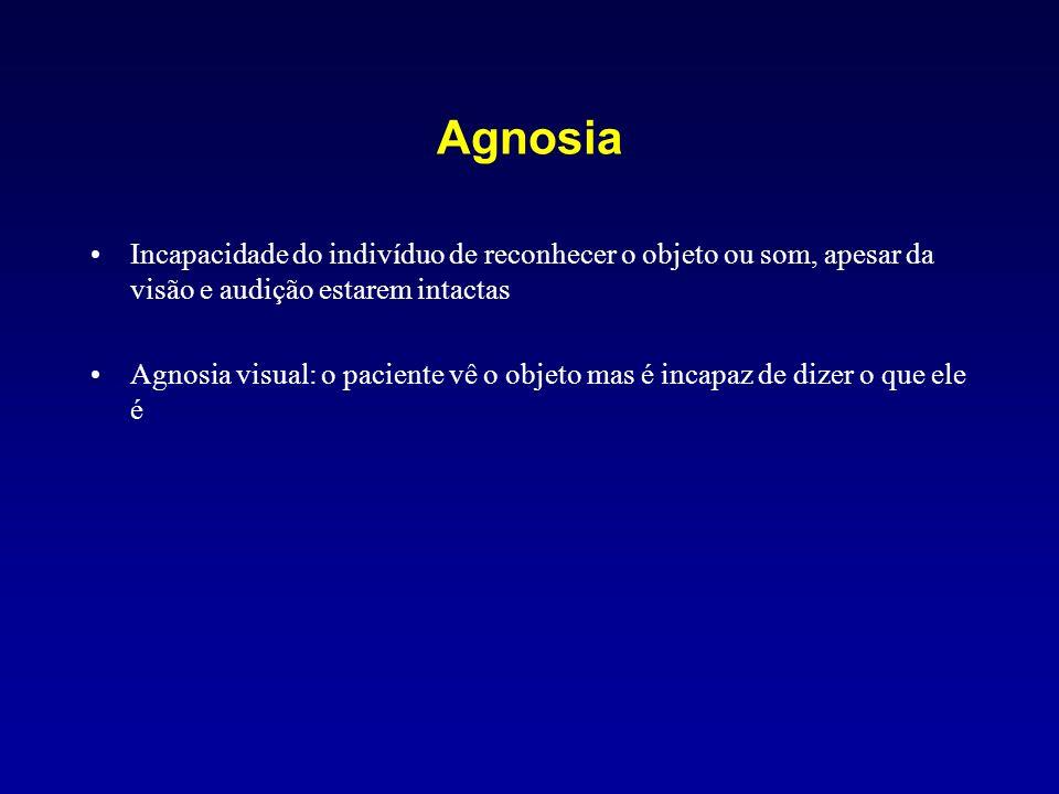 Agnosia Incapacidade do indivíduo de reconhecer o objeto ou som, apesar da visão e audição estarem intactas Agnosia visual: o paciente vê o objeto mas