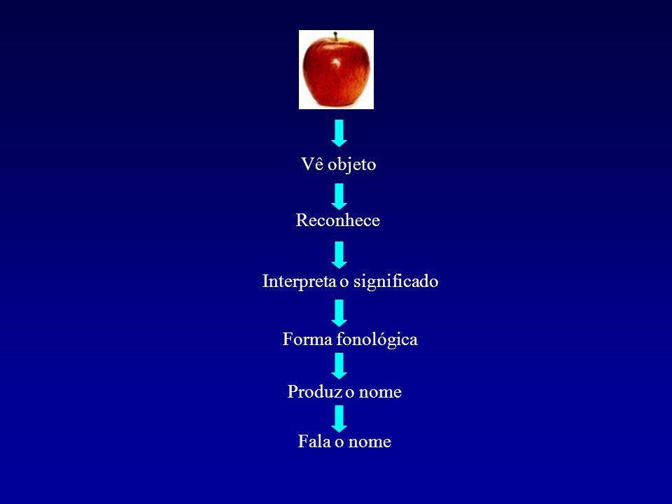 Vê objeto Reconhece Interpreta o significado Forma fonológica Produz o nome Fala o nome