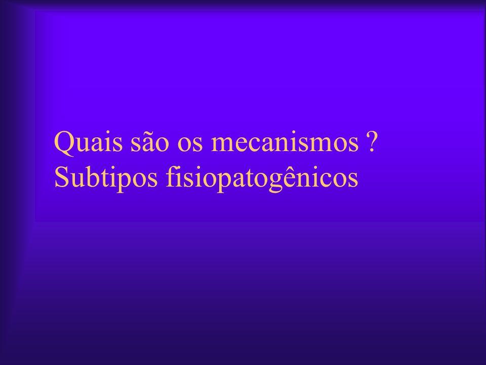 Quais são os mecanismos ? Subtipos fisiopatogênicos