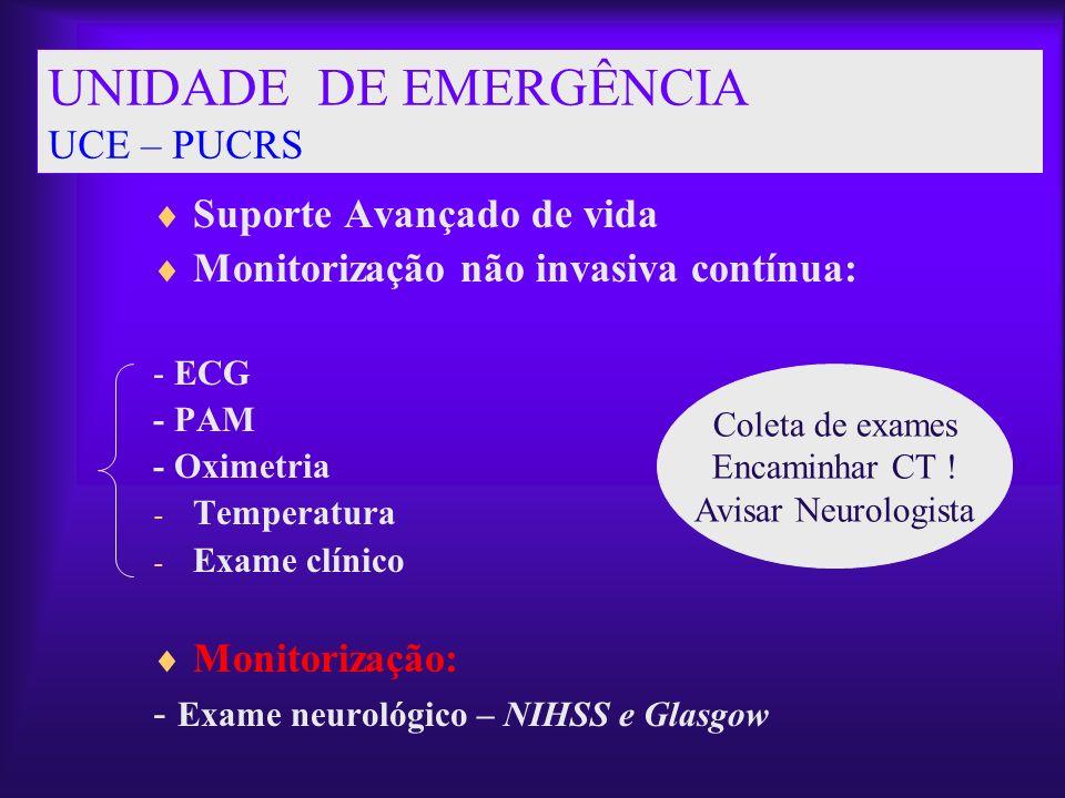 UNIDADE DE EMERGÊNCIA UCE – PUCRS Suporte Avançado de vida Monitorização não invasiva contínua: - ECG - PAM - Oximetria - Temperatura - Exame clínico