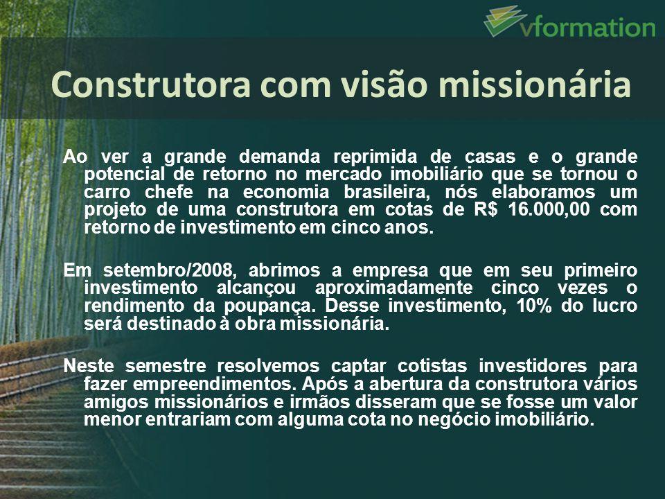 Ao ver a grande demanda reprimida de casas e o grande potencial de retorno no mercado imobiliário que se tornou o carro chefe na economia brasileira,
