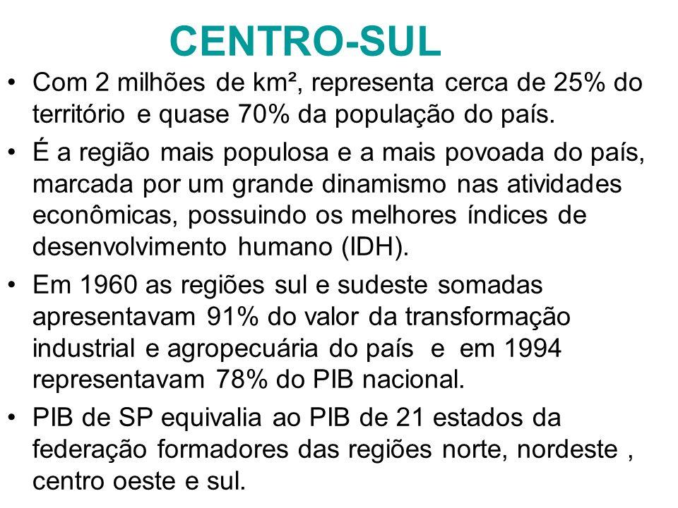 CENTRO-SUL Com 2 milhões de km², representa cerca de 25% do território e quase 70% da população do país. É a região mais populosa e a mais povoada do