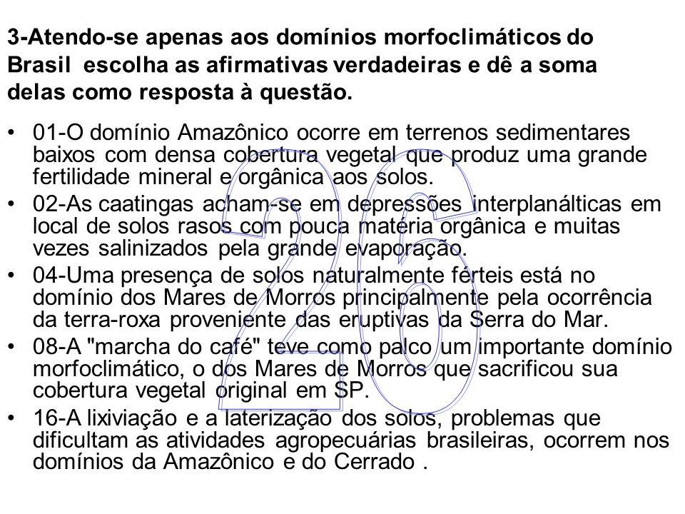 3-Atendo-se apenas aos domínios morfoclimáticos do Brasil escolha as afirmativas verdadeiras e dê a soma delas como resposta à questão. 01-O domínio A