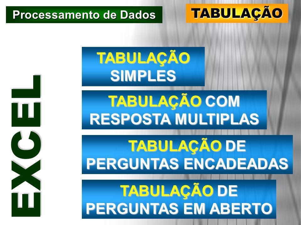 Processamento de Dados TABULAÇÃO EEEE XXXX CCCC EEEE LLLL TABULAÇÃO SIMPLES TABULAÇÃOCOM RESPOSTA MULTIPLAS TABULAÇÃO COM RESPOSTA MULTIPLAS TABULAÇÃO