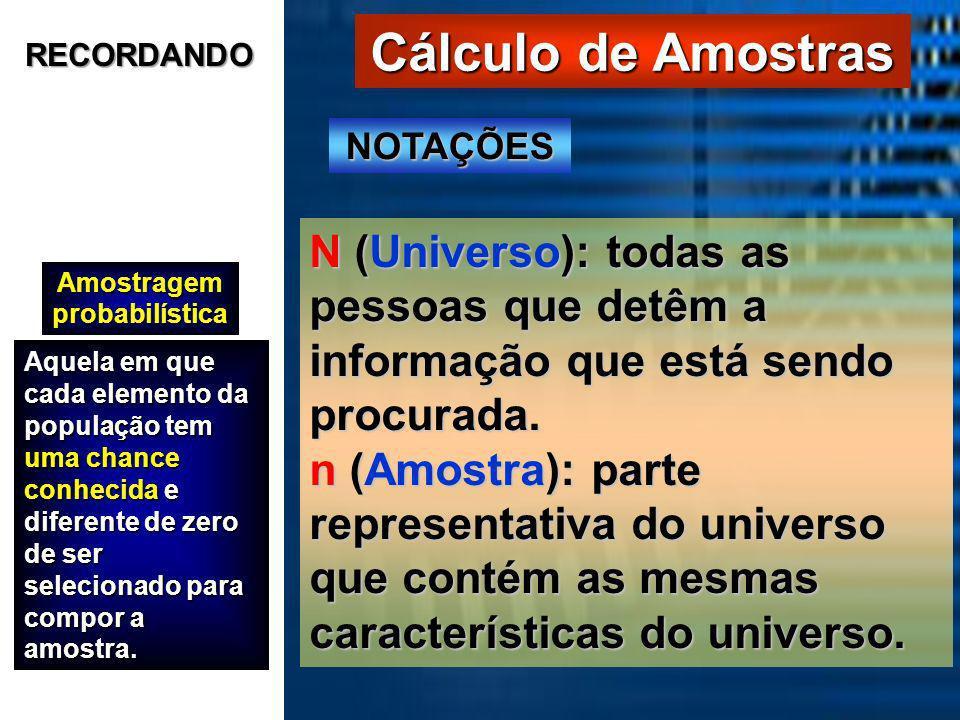 Cálculo de Amostras Amostragem probabilística Aquela em que cada elemento da população tem uma chance conhecida e diferente de zero de ser selecionado