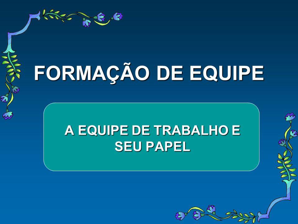 FORMAÇÃO DE EQUIPE A EQUIPE DE TRABALHO E SEU PAPEL