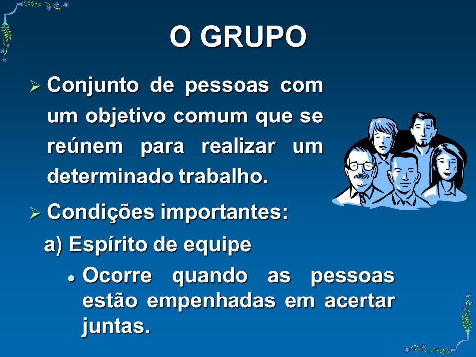 O GRUPO Conjunto de pessoas com um objetivo comum que se reúnem para realizar um determinado trabalho. Conjunto de pessoas com um objetivo comum que s