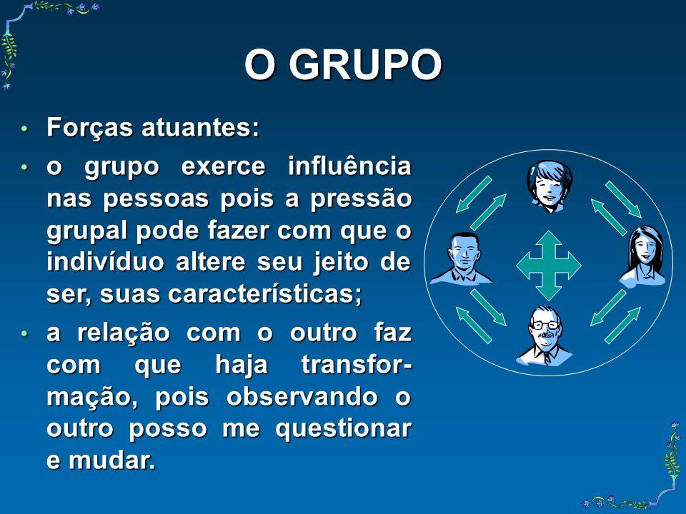 O GRUPO Forças atuantes: Forças atuantes: o grupo exerce influência nas pessoas pois a pressão grupal pode fazer com que o indivíduo altere seu jeito