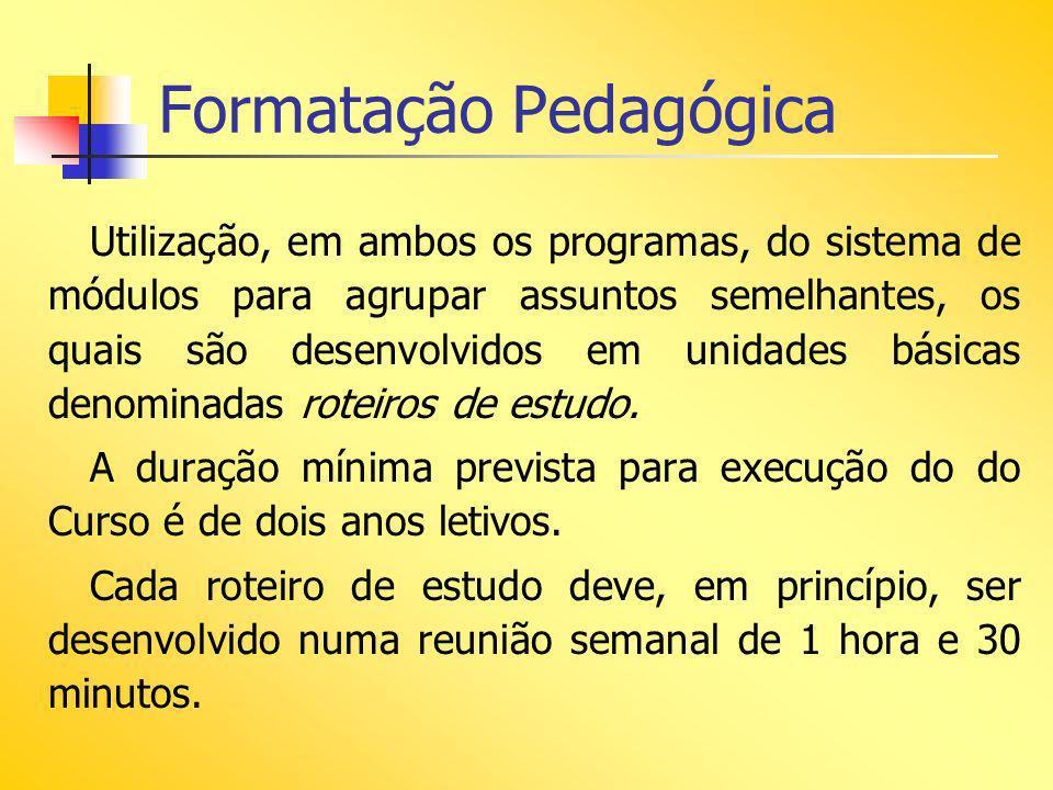 Formatação Pedagógica Utilização, em ambos os programas, do sistema de módulos para agrupar assuntos semelhantes, os quais são desenvolvidos em unidad