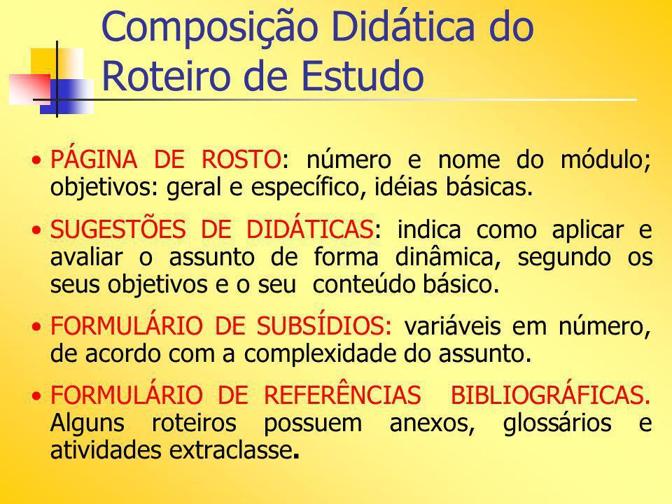 Composição Didática do Roteiro de Estudo PÁGINA DE ROSTO: número e nome do módulo; objetivos: geral e específico, idéias básicas. SUGESTÕES DE DIDÁTIC