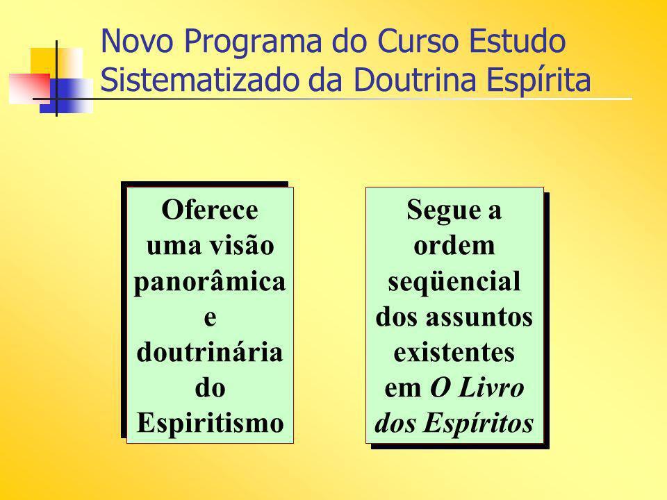 Novo Programa do Curso Estudo Sistematizado da Doutrina Espírita Oferece uma visão panorâmica e doutrinária do Espiritismo Segue a ordem seqüencial do