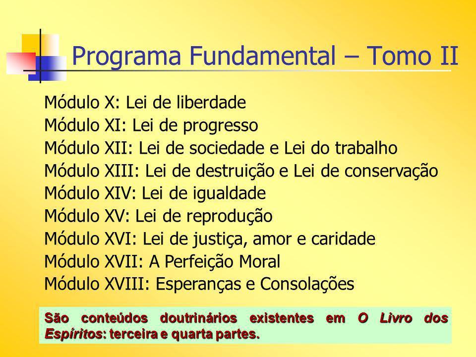 Programa Fundamental – Tomo II Módulo X: Lei de liberdade Módulo XI: Lei de progresso Módulo XII: Lei de sociedade e Lei do trabalho Módulo XIII: Lei