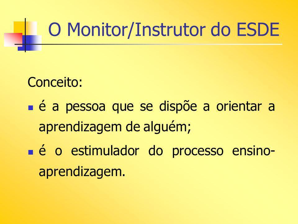 O Monitor/Instrutor do ESDE Conceito: é a pessoa que se dispõe a orientar a aprendizagem de alguém; é o estimulador do processo ensino- aprendizagem.