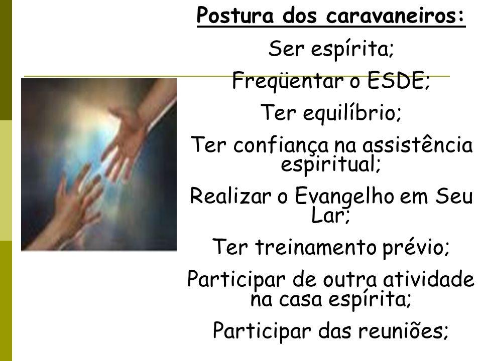 Postura dos caravaneiros: Ser espírita; Freqüentar o ESDE; Ter equilíbrio; Ter confiança na assistência espiritual; Realizar o Evangelho em Seu Lar; T