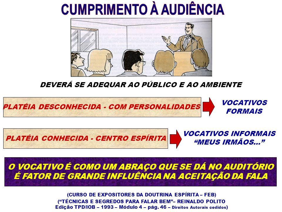 RETORNO DO PÚBLICOVALORIZAR A PLATÉIA 12 OLHE PARA TODOS OS LADOS OLHE COM O CORPO TODO PREOCUPE-SE COM O COMPORTAMENTO GERAL DO AUDITÓRIO NÃO COM UMA OU OUTRA ATITUDE ISOLADA (TÉCNICAS E SEGREDOS PARA FALAR BEM– REINALDO POLITO Edição TPD/IOB – 1993 – Módulo 4 – pág.